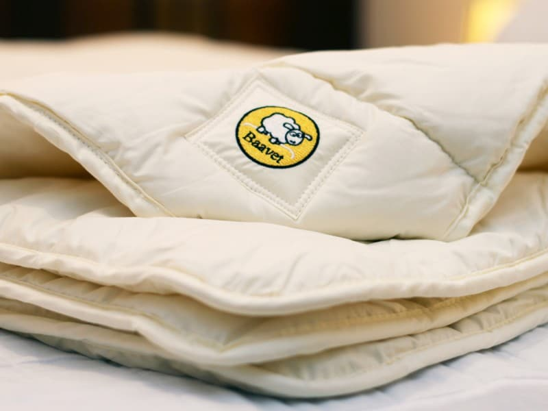 A folded wool duvet