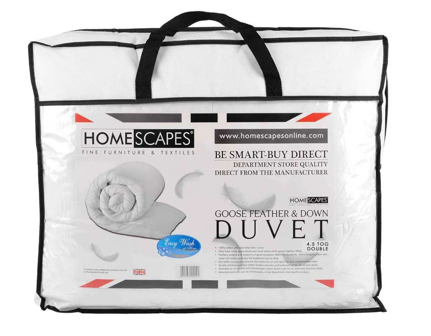 Homescapes - Luxury White Goose Feather & Down Duvet - 4.5 Tog