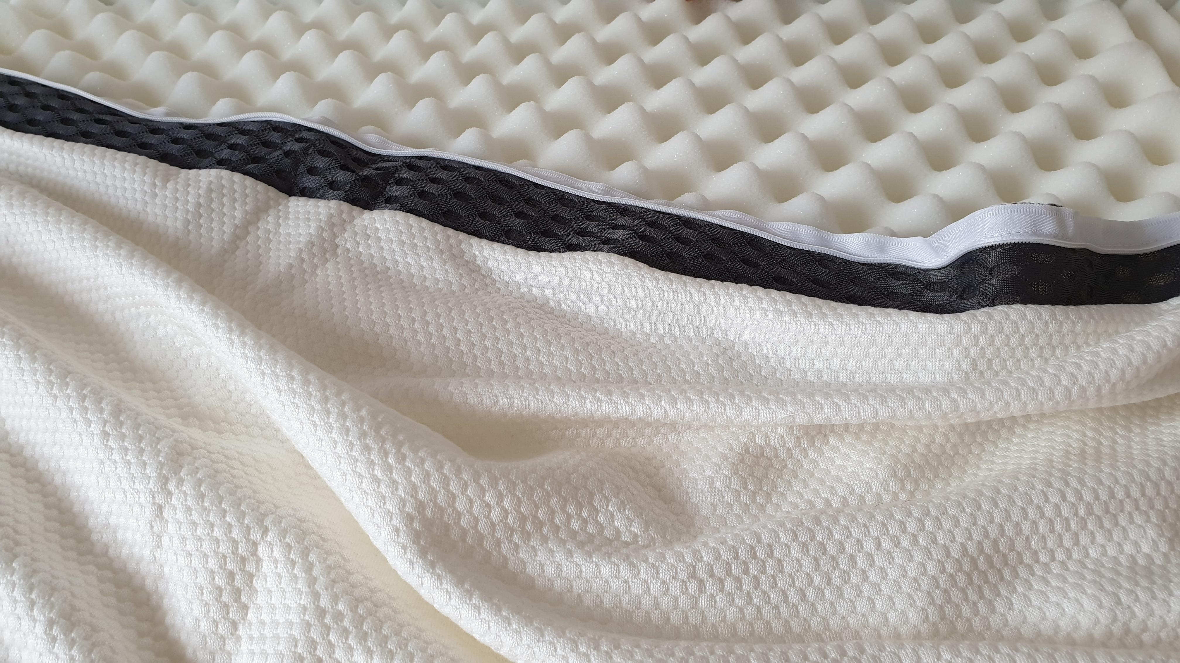 Unzipped cover revealing foam